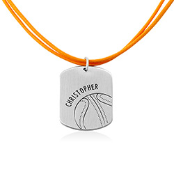 Baseball Custom Dog Tag in Sterling Silver product photo