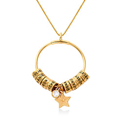 Large Linda Circle Pendant Necklace in Gold Plating with Diamond product photo