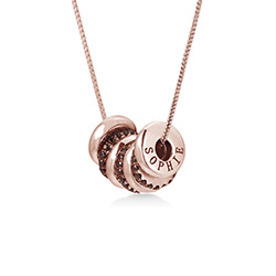 Custom Engraved Beads Necklace in Rose Gold Plating product photo