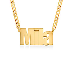 Large Custom Name Necklace with Gourmet Chain in Gold Plating product photo