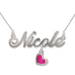 Sterling Silver Dangling Charm Name Necklace product photo