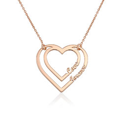 Personalised Heart Necklace with Two Names in Rose Gold Plating product photo