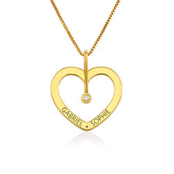 Personalised Love Necklace with Diamond in Gold Plating product photo