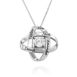 Engraved Eternal Necklace with Cubic Zirconia in Sterling Silver product photo