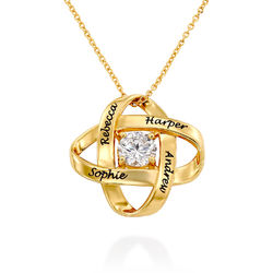 Engraved Eternal Necklace with Cubic Zirconia in Gold Plating product photo