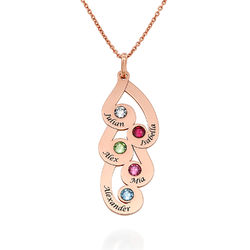 Engraved Family Pendant Necklace with Birthstones in Rose Gold Plating product photo