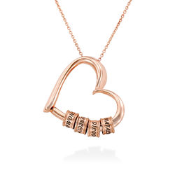 Charming Heart Necklace with Engraved Beads in Rose Gold Plating product photo