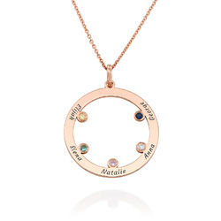 The Family Circle Necklace with Birthstones in Rose Gold Plating product photo