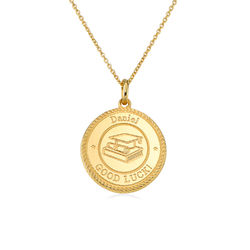 Graduation Cap Personalised Necklace in Gold Vermeil product photo