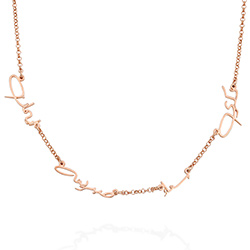 Arabic Multiple Name Necklace in Rose Gold Plating product photo