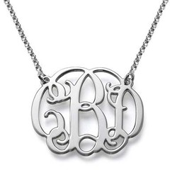 Silver Celebrity Style Monogram Necklace product photo