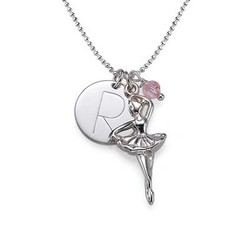 Ballerina Necklace with Engraved Disc Charm product photo