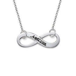 Silver Infinity Necklace with Engraving product photo