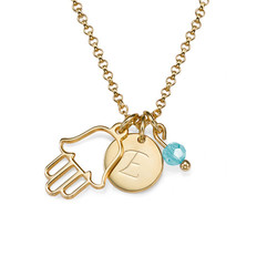 Hamsa Charm on an Initial Necklace product photo