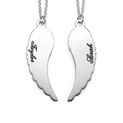 Set of Two Sterling Silver Angel Wings Necklace product photo