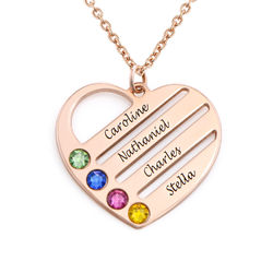 Birthstone Heart Necklace with Engraved Names - Rose Gold Plated product photo