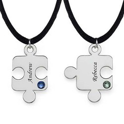 Engraved Puzzle Necklace for Couples with Birthstone product photo