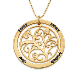Family Tree Birthstone Necklace Gold Plated with Diamonds product photo