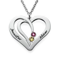 Engraved Couples Birthstone Necklace in Silver product photo