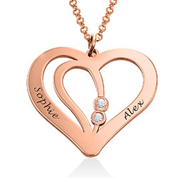 Engraved Couples Necklace in 18k Rose Gold Plated with Diamond product photo