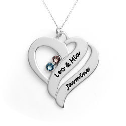 Two Hearts Forever One Necklace - 10ct White Gold product photo