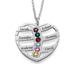 Gift for Mum - Engraved Heart Necklace with Birthstones product photo