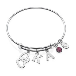 Bangle Charm Initial Bracelet with Intertwined Hearts product photo