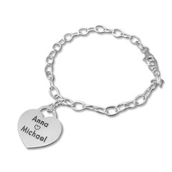 Sterling Silver Heart Charm Bracelet product photo
