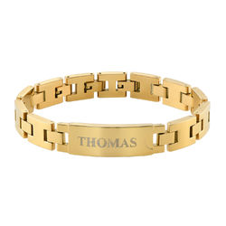 Gold Plated Stainless Steel Men's Bracelet with Engraving product photo