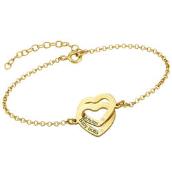 Diamond Interlocking Adjustable Hearts Bracelet in Gold Plated product photo