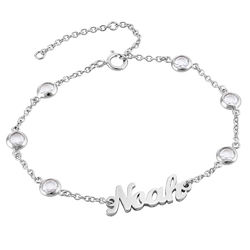 Name Bracelet with Clear Crystal Stone in Silver product photo