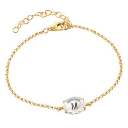 Stone Engraved Bracelet in Gold Plating product photo
