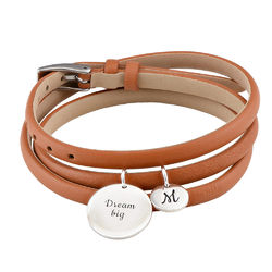 Wrapped Leather Custom Charms Bracelet in Silver product photo