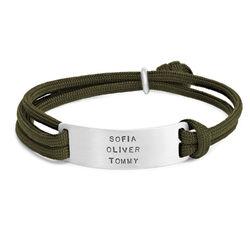 Engraved Bar Cord Bracelet For Men product photo