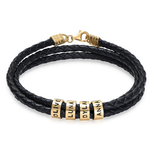 Men Braided Leather Bracelet with Small Custom Beads in 18ct Gold product photo