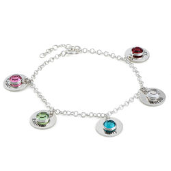 Mum Personalised Charms Bracelet with Birthstone Crystals in Sterling product photo