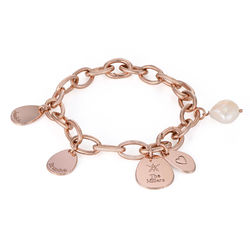 Personalised Round Chain Link Bracelet with Engraved Charms in 18ct product photo