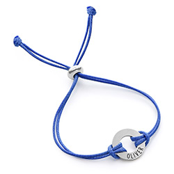 Kids ID Wax Cord Bracelet in Sterling Silver product photo