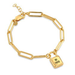 Allie Padlock Link Bracelet in Gold Vermeil product photo