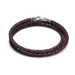 Braided Brown Leather Bracelet product photo