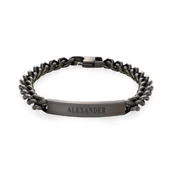 Men's Curb Chain ID Bracelet in Black Stainless Steel product photo