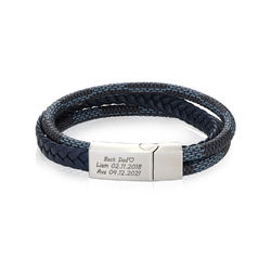 Men's 3-Layer Blue & Grey Braided Leather Bracelet With Stainless product photo