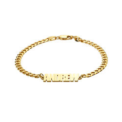 Thick Chain Name Bracelet in 18ct Gold Plating product photo
