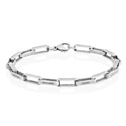 Custom Square Link Men Bracelet in Matte Stainless Steel product photo