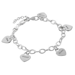 Link Bracelet with Heart Charms in Sterling Silver product photo