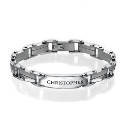 Men's Engraved Stainless Steel Bracelet product photo