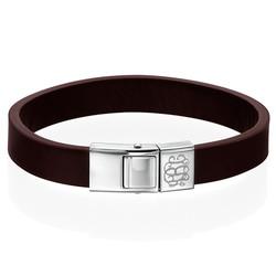 Men's Brown Leather Monogram Bracelet product photo