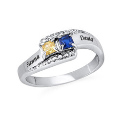 Sparkling Two Birthstone Ring with Engraving product photo