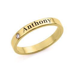 Stackable Name Ring in Gold Plating with Diamond product photo