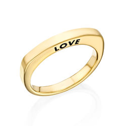 Engraved Square Ring Band in Gold Plating product photo